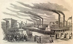 Louisville and Portland Canal - Union troops arrive at Louisville in 1862.