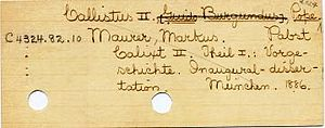 Harvard Library - Catalog card. C denotes Church History and Theology.