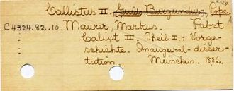 "Widener Library - Catalog card. In the ""Harvard system"", C denotes Church History and Theology."