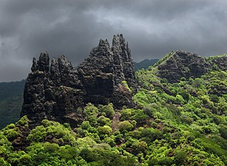 Marquesas Islands - Basaltic rock formation in Hatiheu, Nuku Hiva island.
