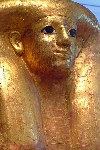 Ramose and Hatnofer - Hatnofer's gold gilded funerary mask (Metropolitan Museum of Art)