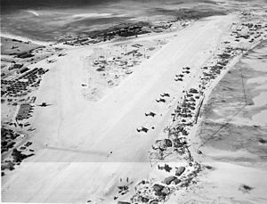 Hawkins Field (Tarawa) - Aerial view of Hawkins Field in March 1944