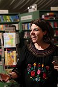 Writer Caitlin Moran enjoying interacting with fans after her nighttime talk