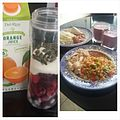 Healthy fried rice with garlic roast chicken and healthy nigerian red stew and a healthy fruit smoothie.jpg
