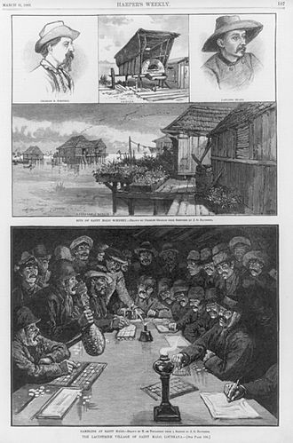 """Asian immigration to the United States - Images from a Harper's Magazine article on """"the Lacustrine village"""" of Saint Malo, Louisiana, where Filipino migrants settled in the 18th century."""