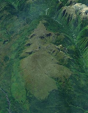 Heart Peaks - Heart Peaks from the north. The Dudidontu River is in the lower-left corner and the Sheslay River is in the upper-right corner along the Coast Mountains.