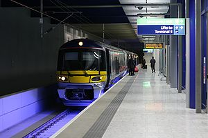 Heathrow Terminal 5 station - Heathrow Express train about to depart from Platform 3