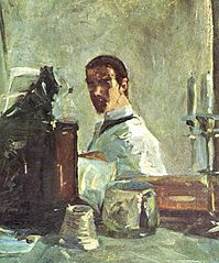 Self-portrait in front of a mirror