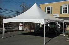 A typical 20u0027x20u0027 high peak frame tent. & Tent - Wikipedia