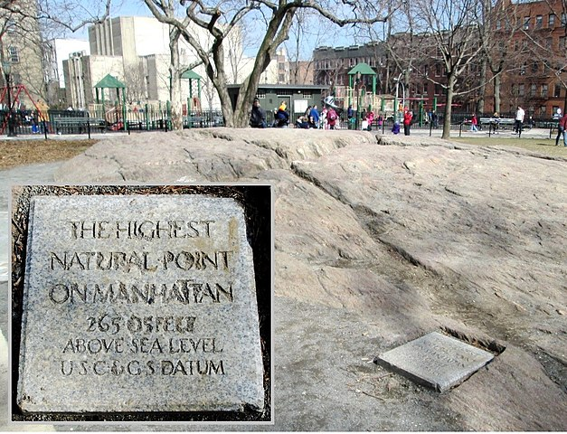 The highest point on Manhattan is in Bennett Park in Washington Heights. The inset at bottom left magnifies the plaque at right.