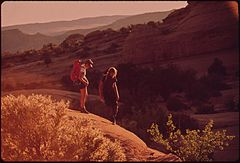 Hikers Terry Mcgaw and Glen Denny on the Trail to Delicate Arch in Arches National Park, 05-1972 (3857081420).jpg