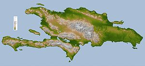 Geography of the Dominican Republic - Topography map of Hispaniola