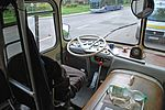 Historical bus Jelcz 021 (-549, reg. KR 55G, built 1975)-driver's seat, owned by MPK Kraków. This is the only remaining vehicle of this class in the world. Przyjazni Av, Nowa Huta, Poland.jpg