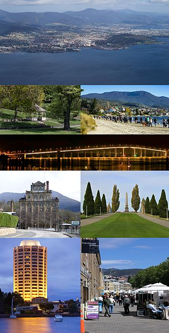 Hobart - Top, from left to right: Hobart from the air, a gazebo in Royal Tasmanian Botanical Gardens, Sandy Bay beach, Tasman Bridge, Cascade Brewery, Hobart Cenotaph, Wrest Point Hotel Casino, Salamanca Market