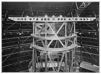 Albert A. Michelson - The horizontal structure mounted at the top of the Hooker Telescope implements Michelson's stellar interferometer (1920). Mirrors on that stage (not visible in picture) redirect starlight from two smaller apertures up to 20 feet (6m) apart into the telescope.