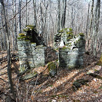 Hoosac Tunnel - Ruins of the westernmost Hoosac Tunnel alignment tower, located on Ragged Mountain in North Adams, Massachusetts