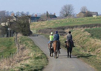 Marefield - Riders on horseback approaching Maresfield, Leicestershire