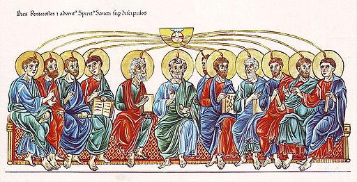 Hortus Deliciarum, Pfingsten und die Aussendung des Heiligen Geistes auf die Apostel