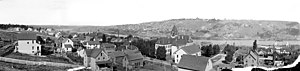 Houghton, Michigan - Panorama of Houghton from Huron Street from 1900-1906.  The Houghton County Courthouse is visible near the center of the photo.