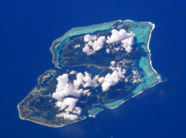 NASA picture of Huahine viewed from the north