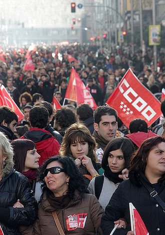 Workers' Commissions - General strike on November 14, 2012 in Madrid.
