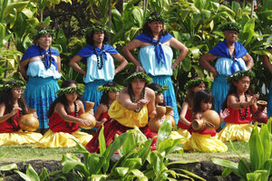 Hula kahiko performance at the pa hula in Hawa...