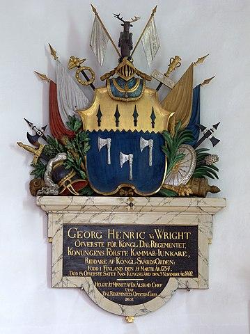 Epitafium för Georg Henrik von Wright i Husby kyrka i Dalarna.