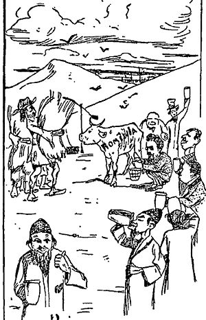 "George Diamandy - The ""Sotir Hall Ideal"", satirized by the antisemitic press (May 1896): socialists and Jewish Romanians milking a cow stamped ""Romania"", which is fed by an overworked peasant"
