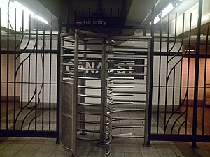 Canal Street (IND Eighth Avenue Line) - Exit-only turnstile from the southbound platform