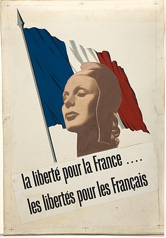 "French Committee of National Liberation - Wartime poster, approved by the committee, depicting Marianne. The slogan reads ""Liberty for France, Freedom for the French""."