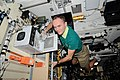 ISS-37 Sergey Ryazansky with a Bioreactor for the CASKAD experiment.jpg