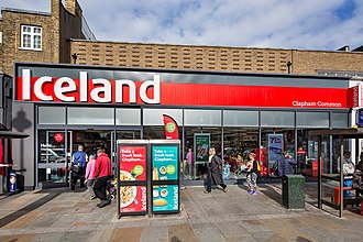 Iceland (supermarket) - A newer style Iceland store in Clapham Common, London.