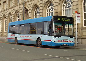 Blue Bus and Coach Services - Ikarus Polaris 489 bodied DAF SB220 in Manchester