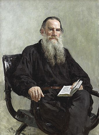 Russian writer Leo Tolstoy, author of War and Peace and Anna Karenina Ilya Efimovich Repin (1844-1930) - Portrait of Leo Tolstoy (1887).jpg