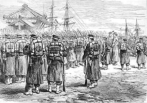 Satsuma Rebellion - Imperial troops embarking at Yokohama to fight the Satsuma rebellion in 1877.