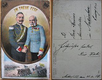 In Treue fest - World War I era postcard (dated 30 April 1916) showing the German and Austrian emperors with the legend In Treue fest.