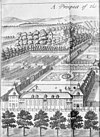 in vogelvlucht naar gravure w.harrit, the kings garden and palace het loo - apeldoorn - 20023269 - rce