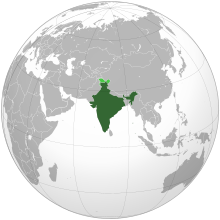 Image of a globe centred on India, with India highlighted.