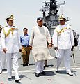 Indian Minister of Defence Arun Jaitley onboard INS Viraat(R22) along with Chief of Naval Staff RK Dhowan and Commander-in-Chief Western Command Vice Admiral Anil Chopra.jpg