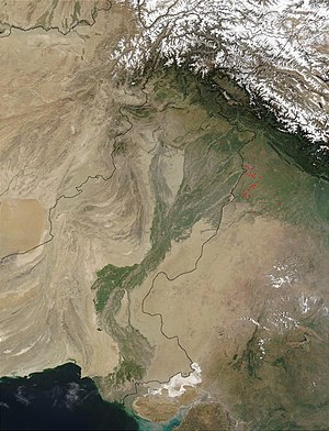 Satellite image of the Indus River basin. Red ...