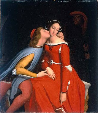 Seven deadly sins - Paolo and Francesca, whom Dante's Inferno describes as damned for fornication. (Jean-Auguste-Dominique Ingres, 1819)