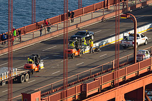 image of Installation of the Golden Gate Bridge Moveable Median Barrier System on January 10, 2015 -03