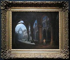 Intérieur d'une abbaye en ruine