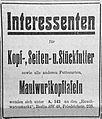 Interessenten für Kopf-, Seiten- u. Stückfutter und Maulwurfkopftafeln, Anzeige 1924.jpg