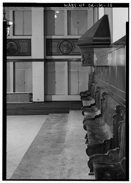 File interior ceremonial hall detail of east wall showing benches and canopy looking north for Interior car detailing portland or