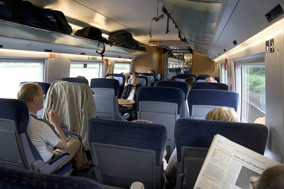 Interior of 2nd class carriage of ICE 3 train
