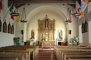 Mission San Rafael Arcángel - Interior of the capilla (chapel) at Mission San Rafael Arcángel taken in 1974.
