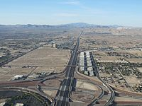Interstate 15, Las Vegas, South of Flight Path on Departure (14203692275).jpg