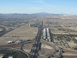 Interstate 15 - Aerial view of I-15 looking south from Sunset Road in the Las Vegas Valley