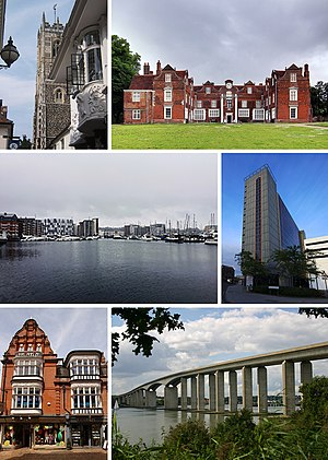 Clockwise from top left: St Lawrence Church, Christchurch Mansion, Ipswich Waterfront, St Clare House, Ipswich Town Centre, Orwell Bridge